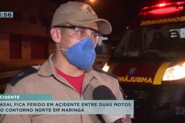 Casal fica ferido em acidente de moto na Contorno Norte em Maringá