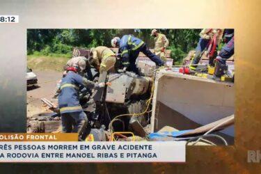 Três pessoas morrem em grave acidente
