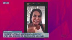 """""""Haters"""" atacam Gretchen nas redes sociais, após seu casamento com Esdras de Souza"""