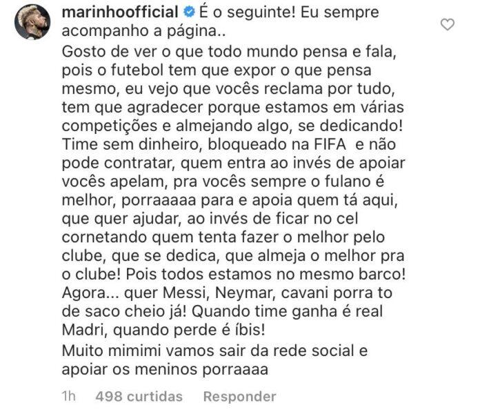 """Marinho rebate críticas da torcida: """"Quando ganha é o Real, quando perde é o Íbis"""""""