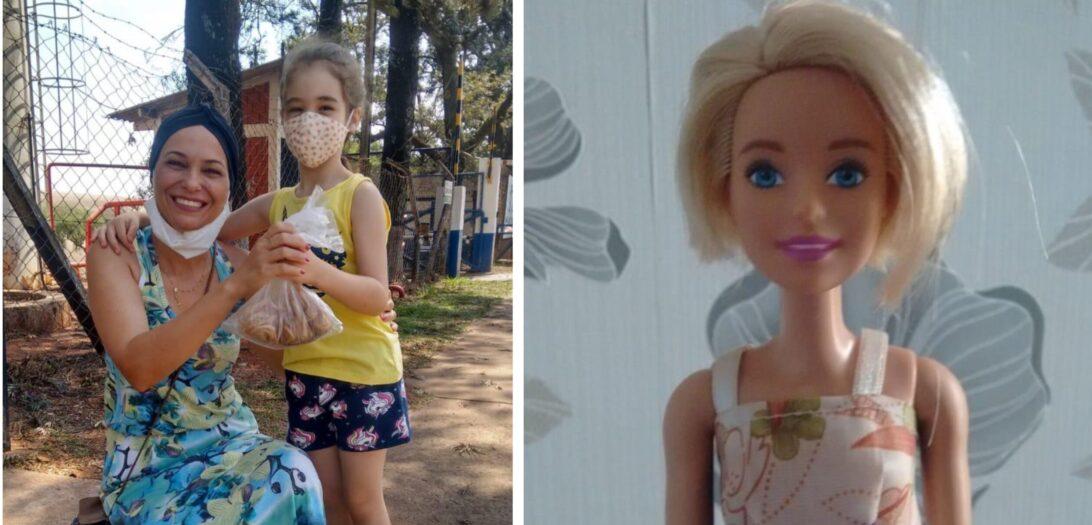 """Menina corta o cabelo das bonecas para doar para """"tia"""" que luta contra o câncer de mama"""