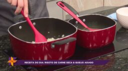 Receita de risoto de carne seca com queijo asiago