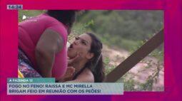 """A Fazenda: Raissa e Mirella brigam feio durante """"reunião de condomínio"""" dos peões"""