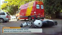 Motociclista morre após grave acidente em Cascavel