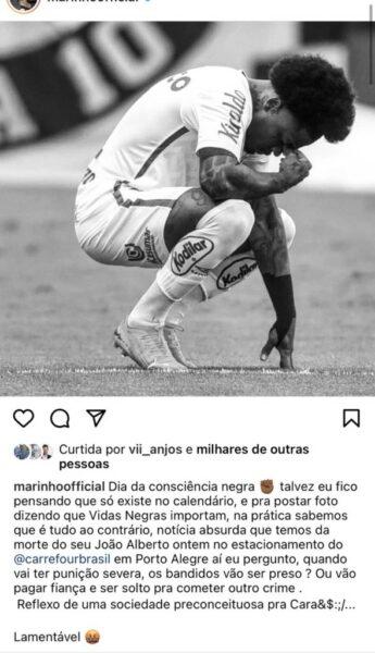"""Marinho, do Santos, vê """"sociedade preconceituosa pra cara***"""" no dia da Consciência Negra"""