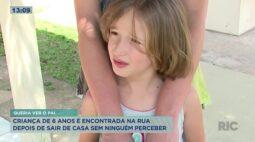 Criança de 6 anos é encontrada na rua depois de sair de casa sem ninguém perceber