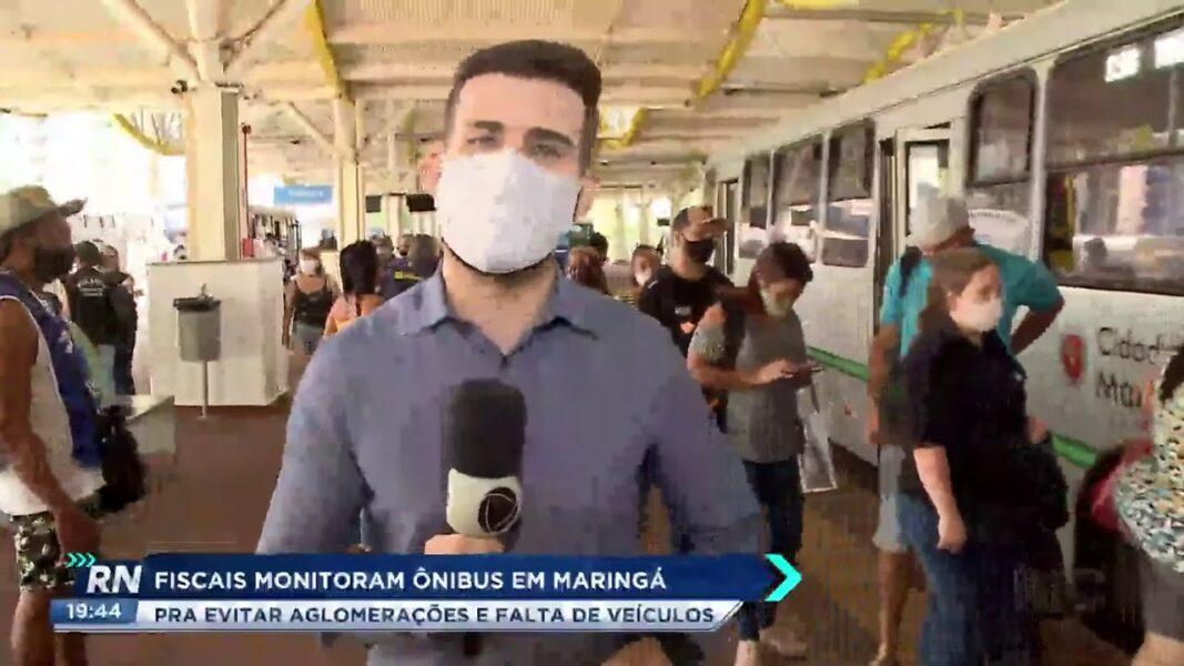 Fiscais monitoram ônibus em Maringá para evitar aglomerações e falta de veículos