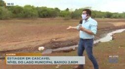 Estiagem em Cascavel: nível do lago municipal baixou 2.60 metros