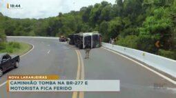 Caminhão tomba na BR-277 e motorista fica ferido