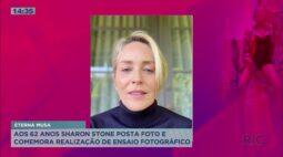 Aos 62 anos Sharon Stone posta foto e comemora realização de ensaio fotográfico