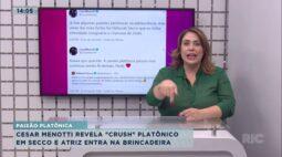 """César Menotti revela """"crush"""" platônico em Deborah Secco e atriz entra na brincadeira"""