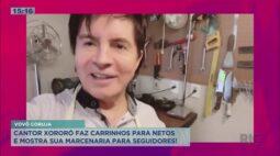 Cantor Xororó faz carrinho para netos em sua marcenaria