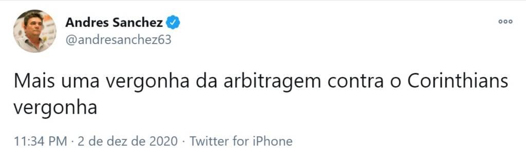 """Presidente do Corinthians volta a criticar a arbitragem: """"Vergonha"""""""