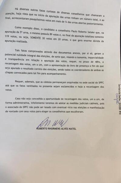 Roberto Natel entra com pedido de recontagem de votos para conselho do São Paulo