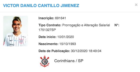 Prorrogação do vínculo de Cantillo com o Corinthians é publicada no BID