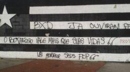 Muros do estádio do Botafogo são pichados com ameaças de morte