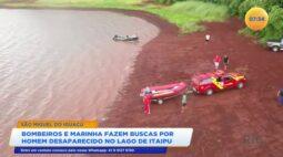 Bombeiros e marinha fazem buscas por homem desaparecido no Lago de Itaipu