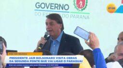 Presidente Jair Bolsonaro visita obras da segunda ponte que vai ligar o Paraguai