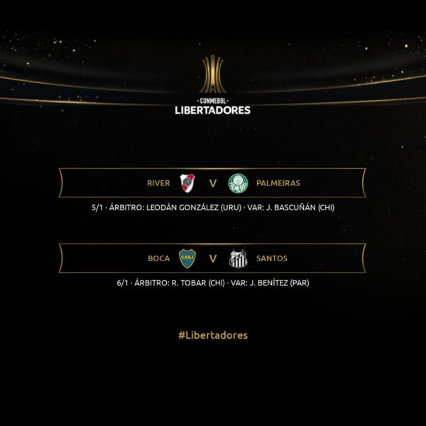 Conmebol define árbitros para as semifinais de Palmeiras e Santos na Libertadores
