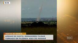 Apesar do susto, moradores filmam tornado em fazenda aqui do paraná