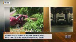 Vítima de acidente morre enquanto era trazida de helicóptero do SAMU