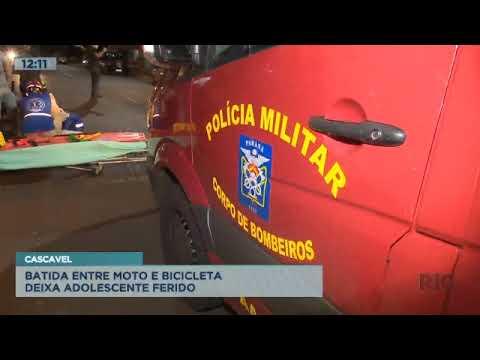 Batida entre moto e bicicleta deixa adolescente ferido em Cascavel