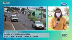 Carro atropela pedestre que tentava atravessar avenida em Astorga