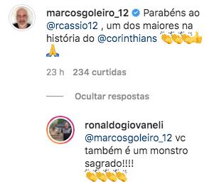 Ídolo do Palmeiras, Marcos parabeniza Cássio por 500 partidas pelo Corinthians