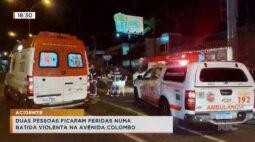 Duas pessoas ficaram feridas numa batida violenta na Avenida Colombo