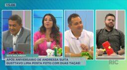 Após aniversário de Andressa Suita, Gustavo Lima posta foto com duas taças