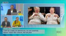 Com os cabelos brancos, Silvio Santos muda o visual no salão