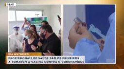 Profissionais da saúde são os primeiros a tomarem a vacina contra o coronavírus
