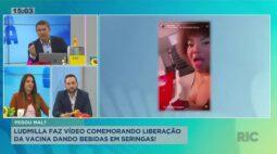 Ludmilla faz vídeo comemorando liberação da vacina dando bebidas em seringas para convidados