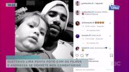 Gusttavo Lima posta foto com os filhos e Andressa se derrete nos comentários