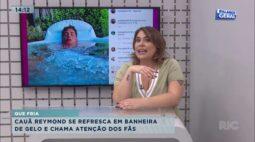 Cauã Reymond se refresca em banheira de gelo e chama atenção dos fãs