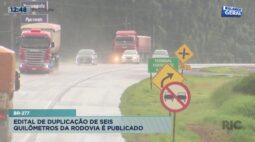 BR-277: edital de duplicação de seis quilômetros da rodovia é publicado