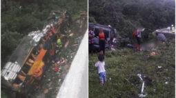 Acidente grave com ônibus de turismo deixa vítimas na BR-376, em Guaratuba