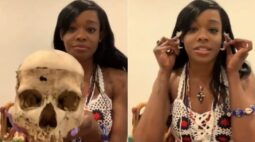 Cantora compra crânio infantil e gera polêmica na web
