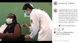Corinthians parabeniza e faz convite a corintiana que recebeu a 1ª vacina contra covid-19