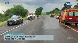 Criança de 5 anos morre em acidente na BR-369 em Santa Mariana