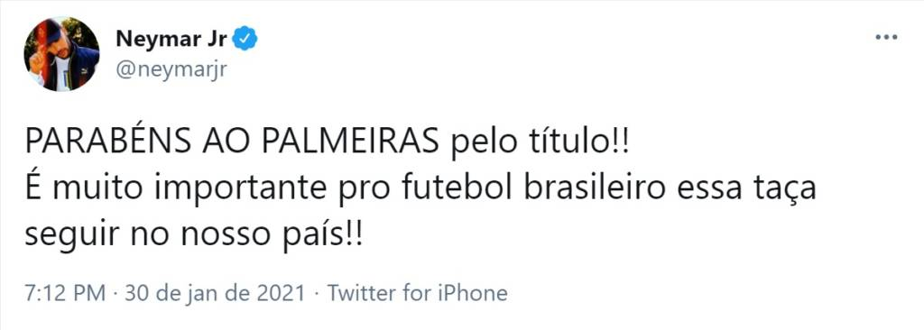 Neymar lamenta derrota do Santos, mas não deixa de parabenizar o Palmeiras