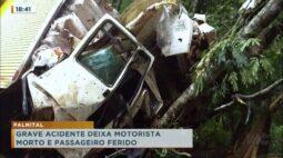Palmital: grave acidente deixa motorista morto e passageiro ferido