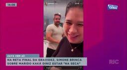 "Simone Brinca sobre marido Kaká Diniz estar ""na seca"" na reta final da gravidez"