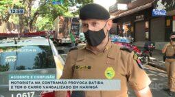 Motorista na contramão provoca batida e tem o carro vandalizado em Maringá