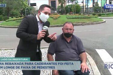 Denúncia! Guia rebaixada para cadeirantes foi feita longe da faixa de pedestres em Curitiba