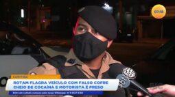 Rotam flagra veículo com falso cofre cheio de cocaína e motorista é preso
