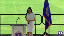 Marina Elali é a primeira artista brasileira a cantar hino nacional americano em cerimônia do FBI, em Miami