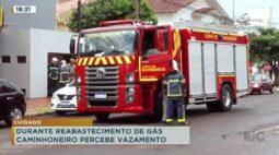 Durante reabastecimento de gás caminhoneiro percebe vazamento