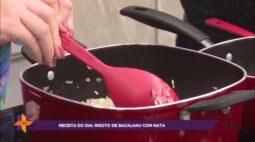 Aprenda a fazer um delicioso risoto de bacalhau com nata
