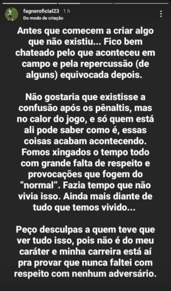 """Fagner explica provocação e confusão após a classificação do Corinthians: """"Fomos xingados"""""""